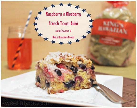 Raspberry blueberry coconut french toast bake King's Hawaiian bread
