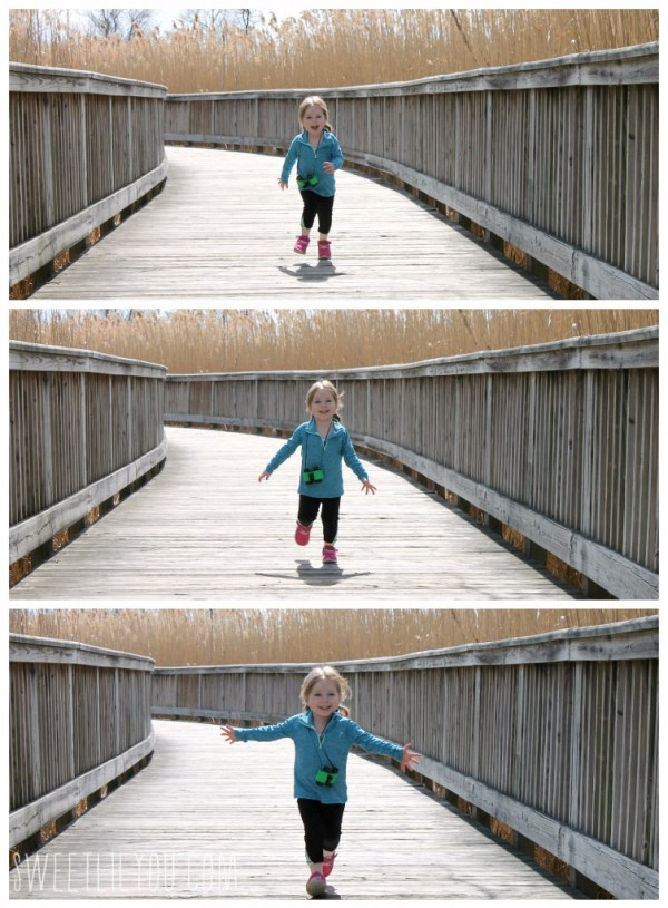 Toddler running on the boardwalk Audubon Rhode Island