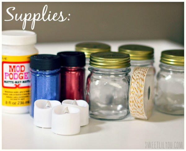 Supplies needed for this project mod podge or other adhesive, fine glitter, small mason jars, ribbon or string, LED tealight candles