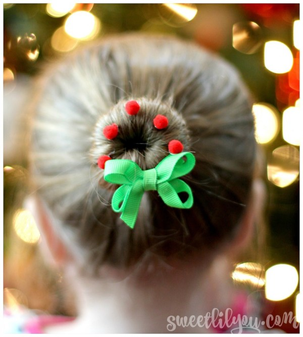 Wreath Bun Christmas Hairstyle