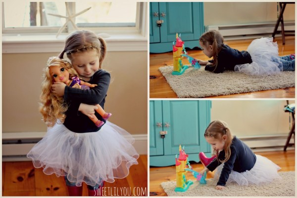 avery with disney princess toys