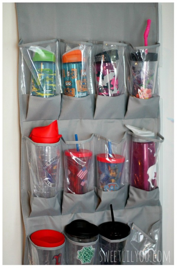 store bottles in shoe organizer