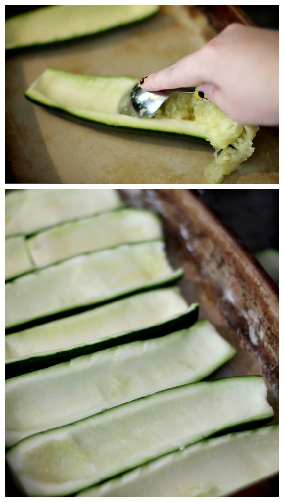 Making Zucchini Boats Remove seeds