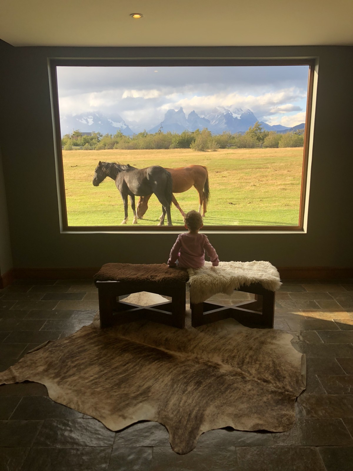 Lobby with view of the mountains and horses at Rio Serrano Hotel and Spa