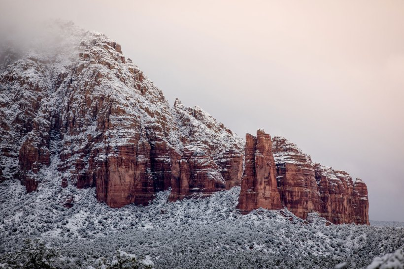 Snow covered Bell Rock Trail in Sedona