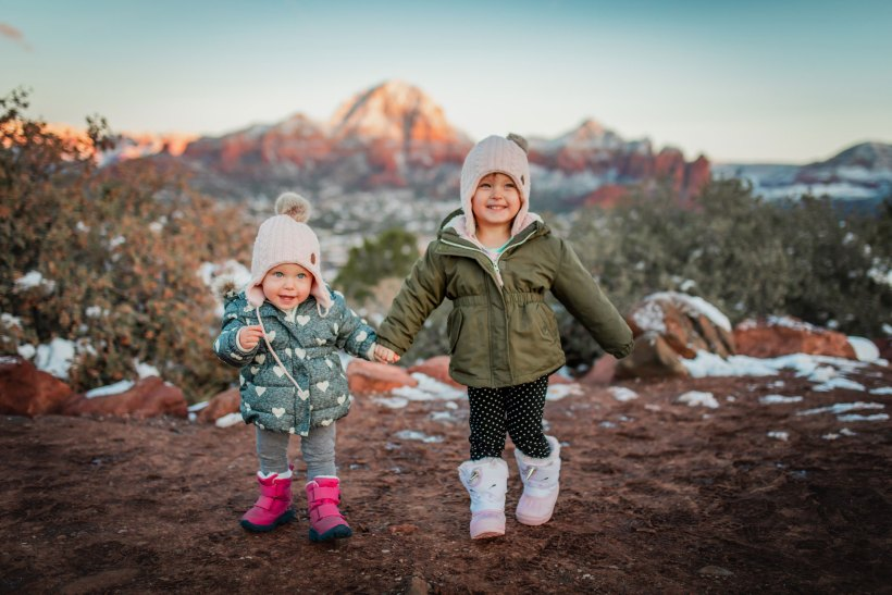 Kids in front of Sedona Airport Scenic Lookout