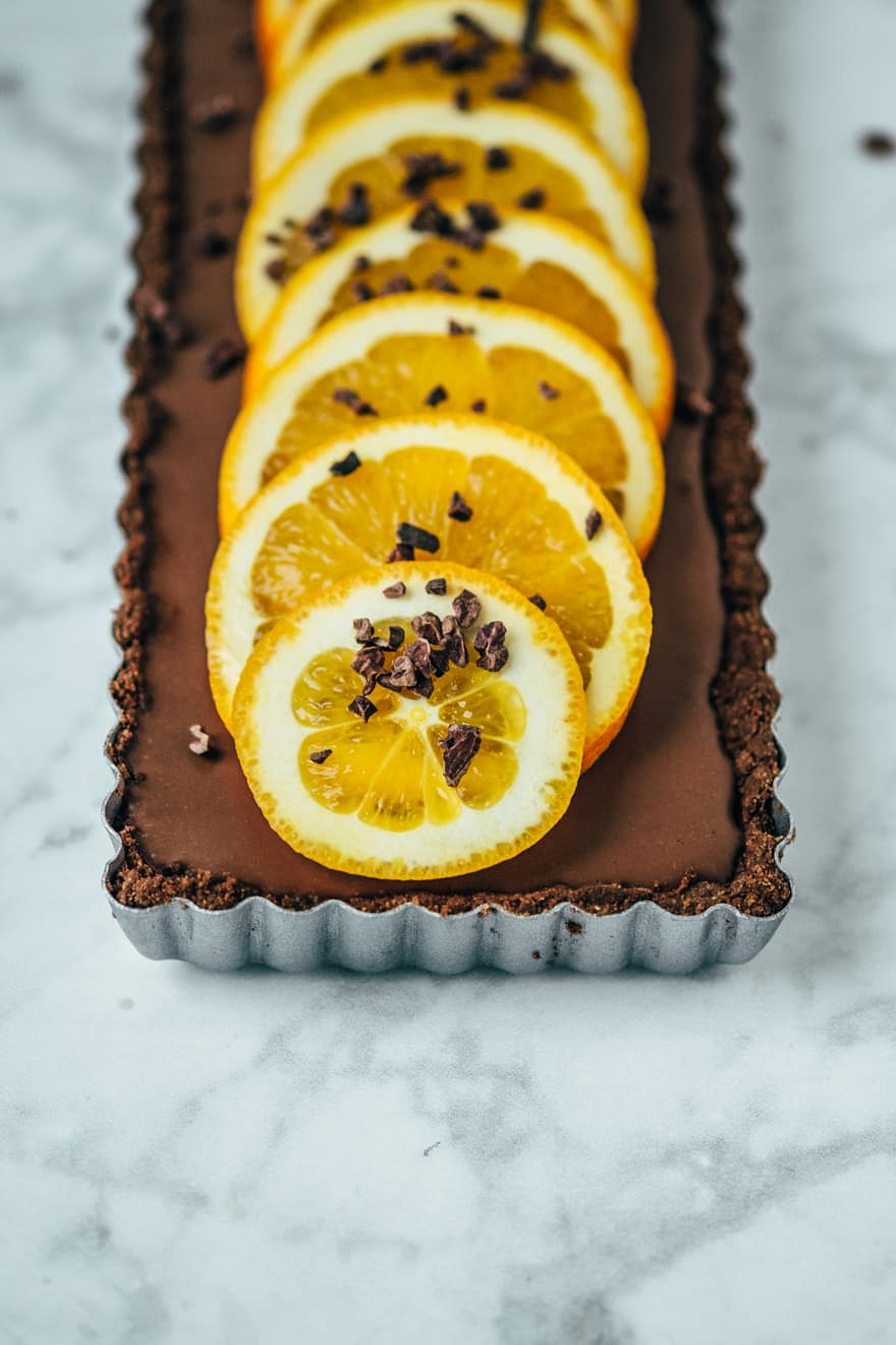 orange chocolate tart (paleo, vegan)