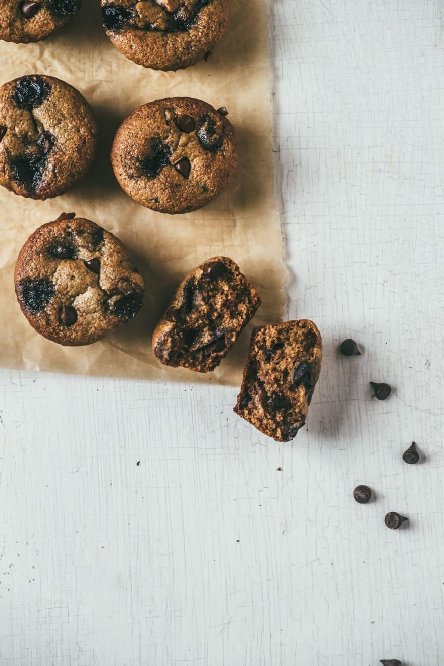 paleo chocolate chip cherry muffins