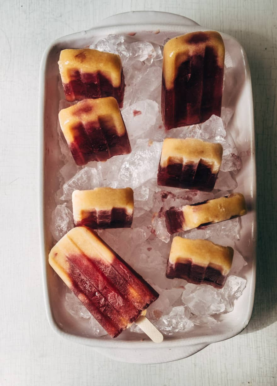 Peach Hibiscus and Basil Popsicles #paleo #healthy