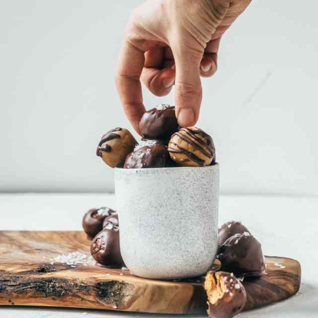 Chocolate Covered Miso Peanut Butter Truffles (vegan)
