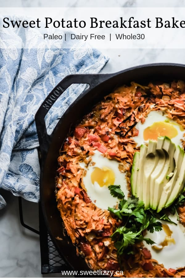 A Thai inspired Sweet Potato breakfast casserole with coconut milk, ginger, sweet potatoes and eggs.  Easy to prepare, whole30 compliant and so delicious!     www.sweetlizzy.ca     #paleo #whole30 #breakfast #eggs #healthy