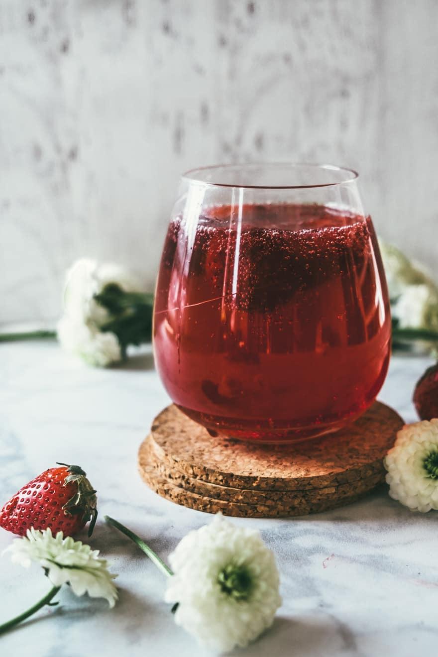 strawberry honey hibiscus shrub