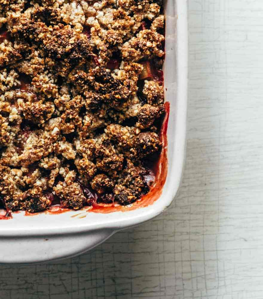 coconut creamed strawberry rhubarb crisp #healthy #vegan #paleo #recipe