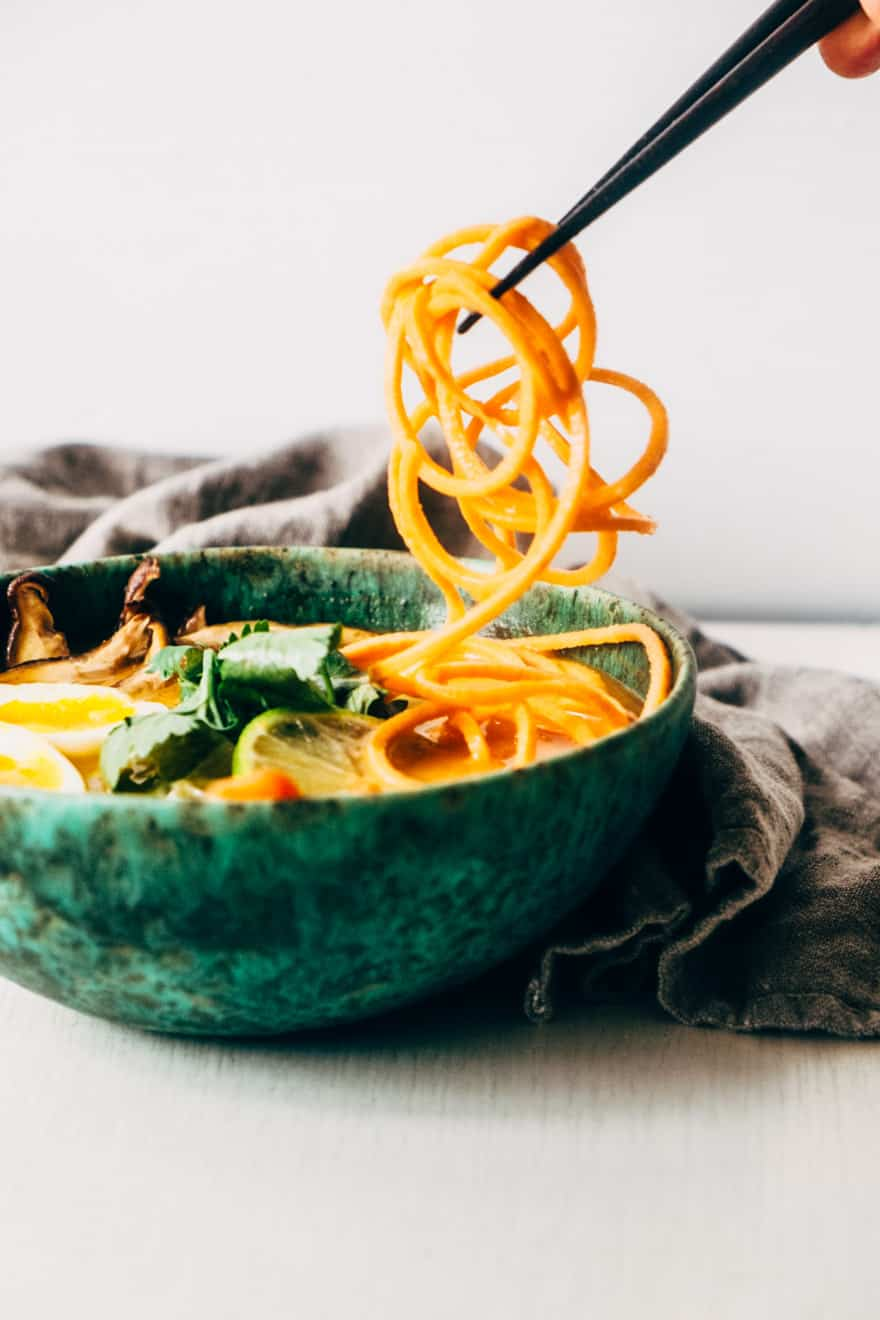Tomato coconut soup with Sweet Potato Noodles