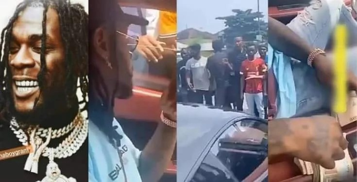 Burna Boy Pulls Up In His Ferrari, Dashes 'Area Boys' Wad Of N1k Notes To Share