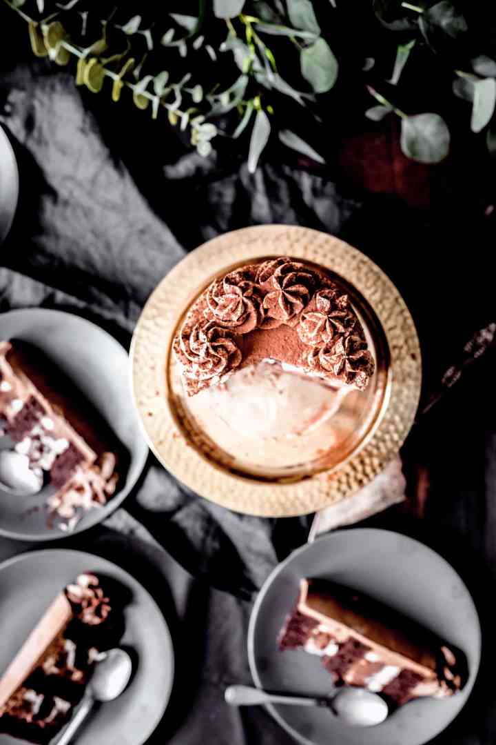 Layer cake chocolat et ganache montée vanille