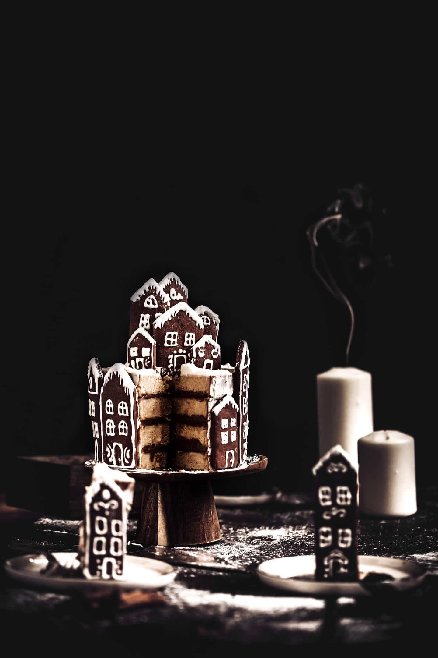 Gingerbread village layer cake