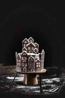 Gingerbread houses cookies village layer cake