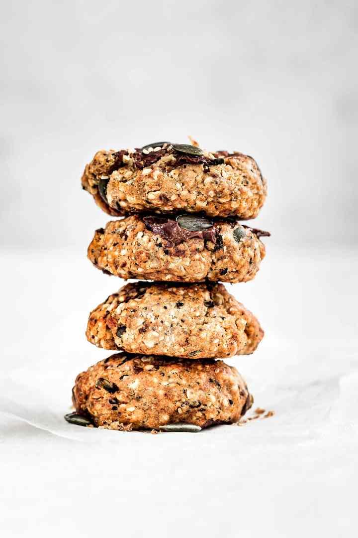 Cookies flocons d'avoine, graines et chocolat