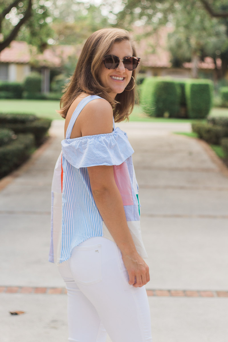 What to Do When You're Scared of the Future // A summer-y fashion post on sweetly sally with an Anthropologie top and white jeans