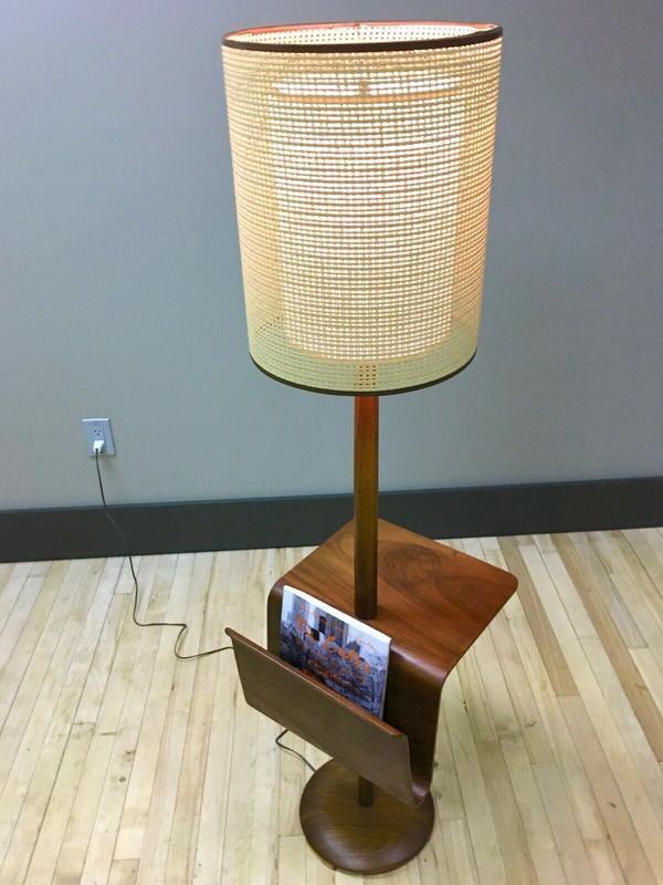 teak laurel magazine holder lamp