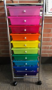 rainbow cart for organization in primary classrooms
