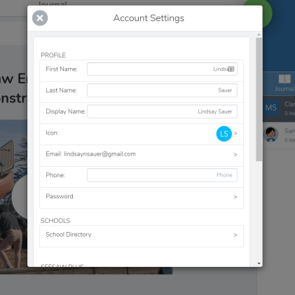 account settings in Seesaw