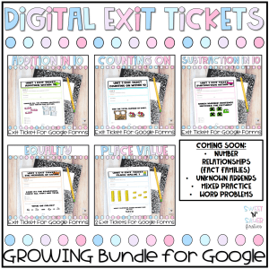 First Grade Digital Exit Tickets for Google Forms