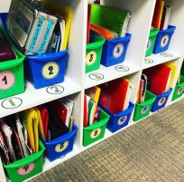 labeling bins with student numbers
