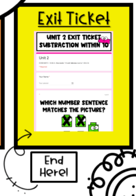 Digital Exit Ticket for Subtraction