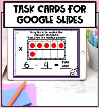 Digital Subtraction Task Cards for Google Sldies