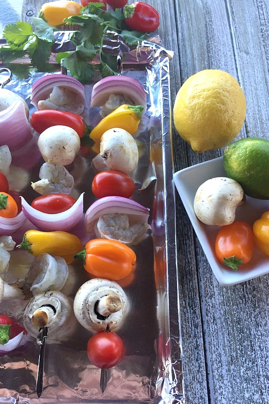 Shrimp and Veggie Kabobs before being grilled