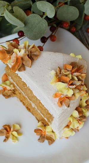Piece of Pumpkin Pudding Cake with Cinnamon Buttercream Frosting