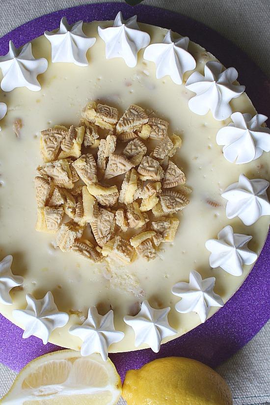 Top view of Lemon Oreo Cheesecake.