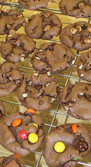 Chocolate cookies made from cake mix using different baking chips.
