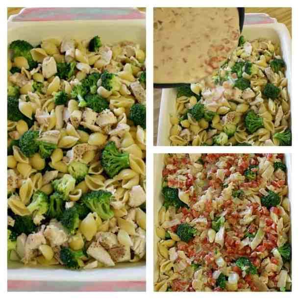 3 pics showing casserole preparation.