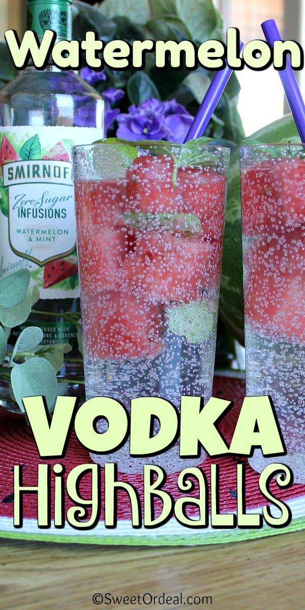 Watermelon Vodka Highballs with watermelon ice cubes.