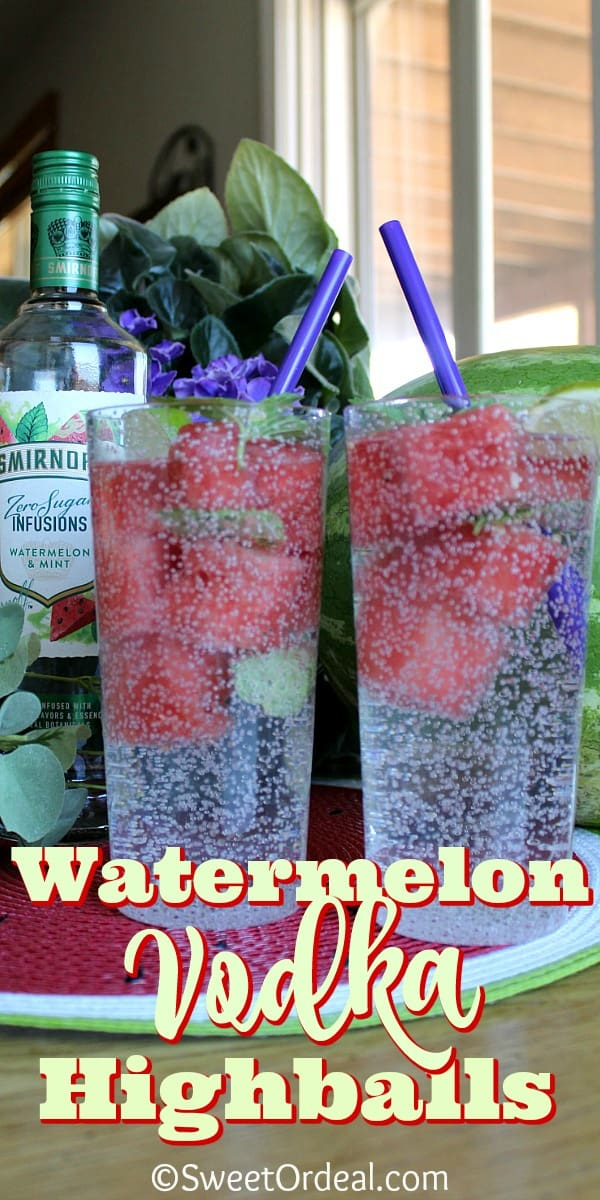 Two highball glasses showing watermelon ice cubes.