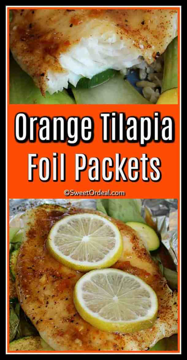 Flaky inside of tilapia fillet, and piece of tilapia covered with lemon slices.
