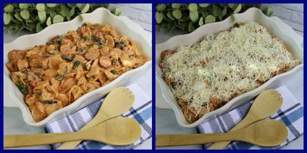 Two pictures of pre-baked tortellini with sausage hotdish.