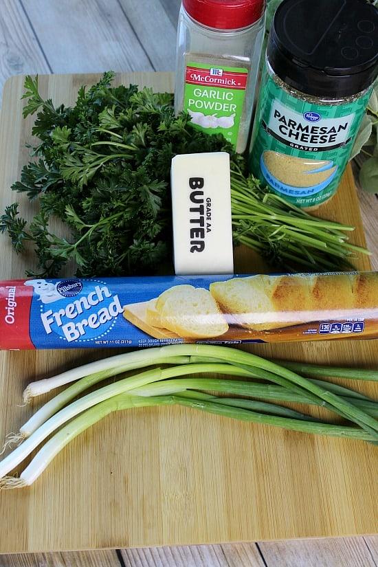 Ingredients for Garlic French Bread Swirls.