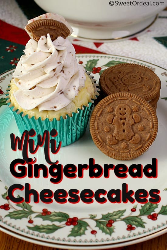 Gingerbread Oreo cookies next to a mini cheesecake.