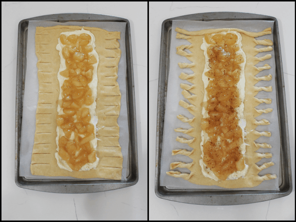 Raw dough with cream cheese and apple pie filling, slits cut into sides, then twisted.