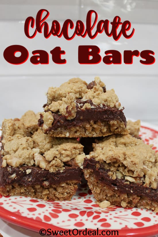 Stacked dessert bars with rustic crumble, chocolate layer.