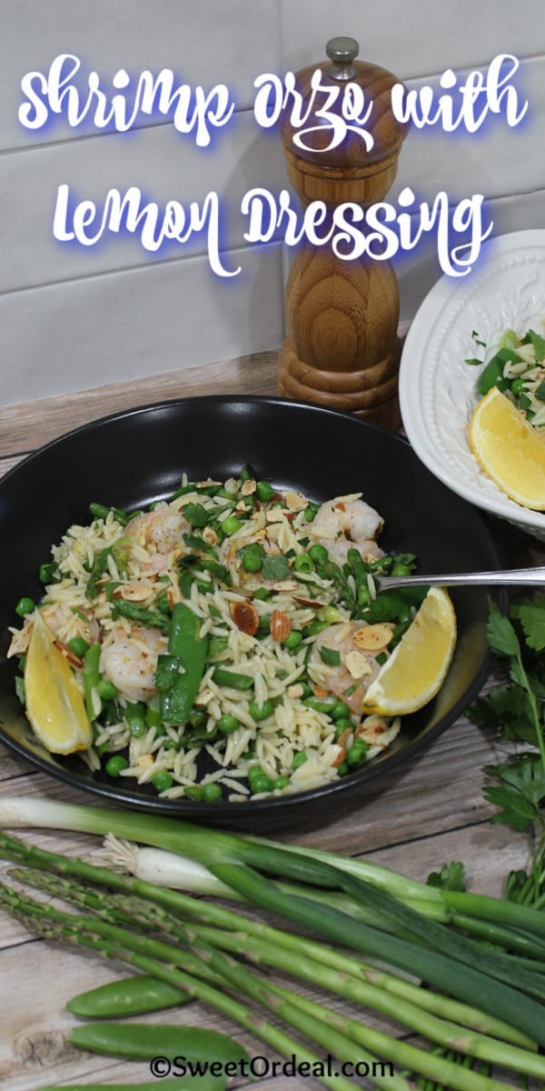Pasta and seafood with fresh veggies and an olive oil-based dressing.
