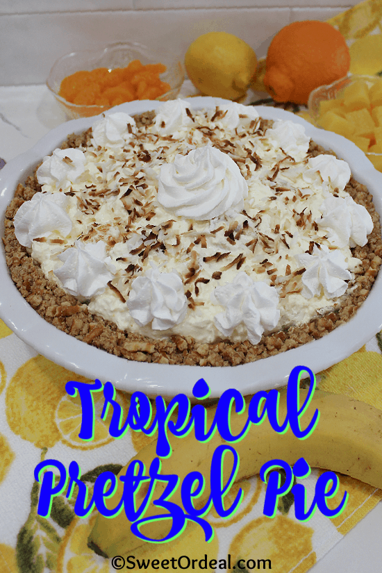 Toasted coconut topping a pretzel crust pie.