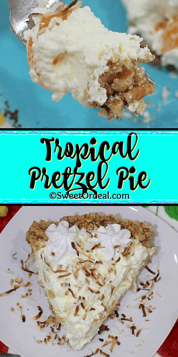 A light and fluffy dessert with a pretzel crust and fruit.