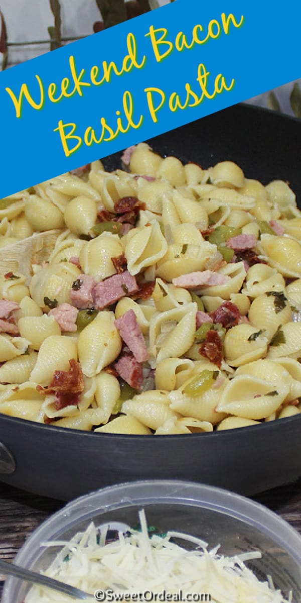Cubed ham and fresh sweet basil with large shells and Parmesan cheese.