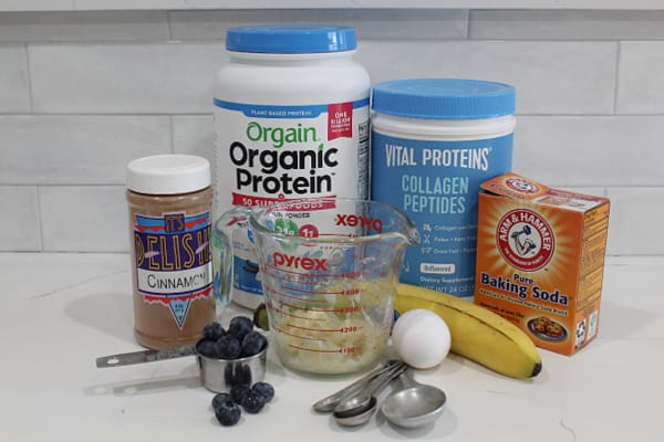 Ingredients shown for Blueberry Protein Pancakes.