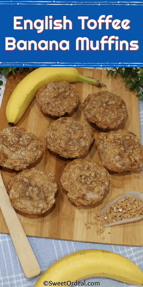 Rustic banana muffins, scattered toffee bits.